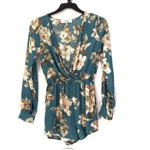 Estelle Floral Faux Wrap Long Sleeve Romper